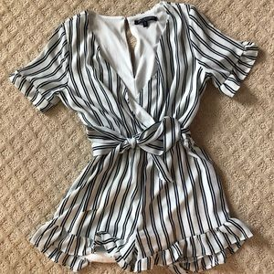 Navy and White Stripped Romper
